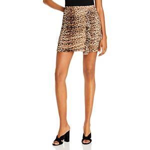 Aqua Ruched Leopard Print Skirt - 100% Exclusive  - Female - Leopard - Size: Large