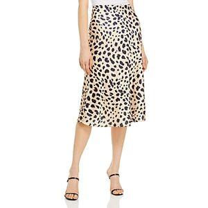Aqua Satin Midi Slip Skirt - 100% Exclusive  - Tan/Black - Size: Large