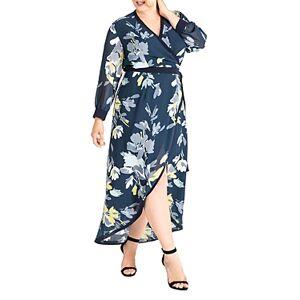 standards & practices Elle Printed Chiffon Wrap Dress  - Female - Navy Petals - Size: 3X