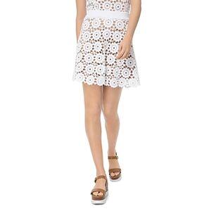 Michael Michael Kors Medallion Pattern Lace Mini Skirt  - Female - White - Size: Large