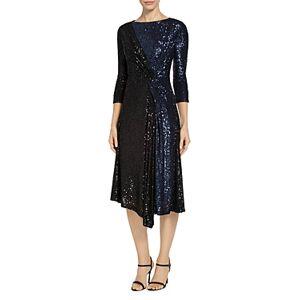 St. John Starlight Sequin Mesh Two Tone Dress  - Female - Caviar/Navy - Size: 10