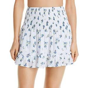 Aqua Swim Sweet Valley Smocked Mini Skirt Swim Cover-Up - 100% Exclusive  - Female - White - Size: Large