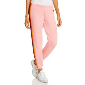 Aviator Nation Rainbow Stripe Sweatpants  - Female - Blush - Size: Large