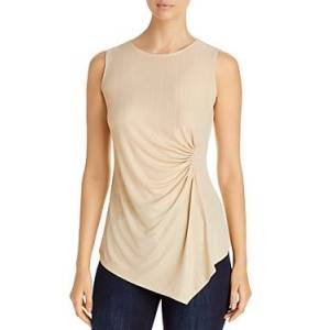 T Tahari Draped Sleeveless Top  - Female - Almond Tan - Size: Large