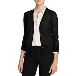 Theory Wool V-Neck Cardigan  - Female - Black - Size: Large