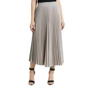 Vince Camuto Metallic Pleated Skirt  - Golden Haz - Size: Large