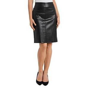 Vince Camuto Croc Embossed Faux Leather Skirt  - Rich Black - Size: Large