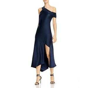 Cushnie Asymmetrical Neck Slip Dress with Cascading Skirt  - Female - Navy - Size: 8