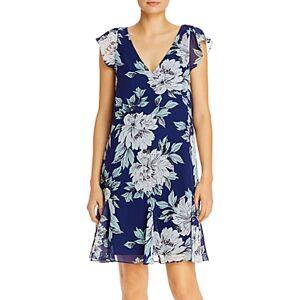 Adrianna Papell Floral Print Chiffon Dress  - Navy Multi - Size: 14