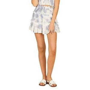 Vintage Havana Tie Dyed Tiered Mini Skirt  - Female - Dusty Blue - Size: Large
