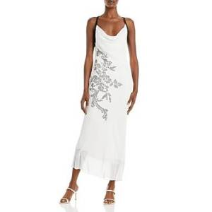 Cushnie Silk Embroidered Pencil Dress  - Female - White/Black - Size: 0
