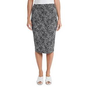 Vince Camuto Iced Leopard Print Skirt  - Female - Rich Black - Size: 2X-Large