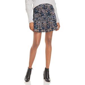 Aqua Floral Print Ruched Mini Skirt - 100% Exclusive  - Navy/Black/Multi - Size: Large