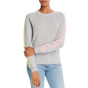 Minnie Rose Cashmere Mesh-Stripe Sweatshirt  - Female - Light Heather Gray - Size: Extra Large