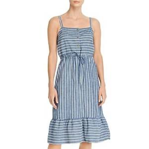 Vero Moda Chambray Striped A-Line Dress  - Female - Blue Denim/White Stripe - Size: Large