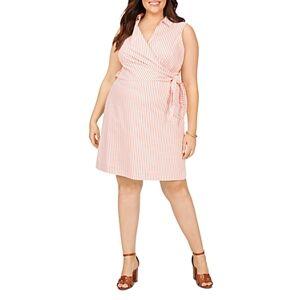 Foxcroft Plus Capri Easy Care Stretch Twill Striped Dress  - Female - Coral Twist - Size: 14W