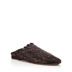 Bottega Veneta Men's Intrecciato Fondente Leather Slippers  - Male - Brown - Size: 42 EU / 9 US