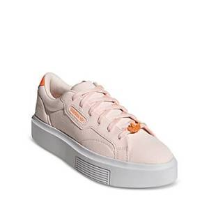 adidas Women's Sleek Super Lace Up Sneakers  - Female - Pink Tint / Crystal White / Signal Orange - Size: 6.5