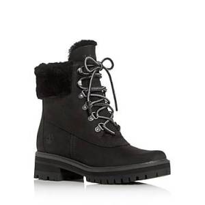 Timberland Women's Courmayeur Valley Shearling Waterproof Cold-Weather Boots  - Female - Black - Size: 8