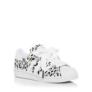 adidas Women's Superstar Leopard Print Low Top Sneakers  - Female - White/Blue - Size: 9
