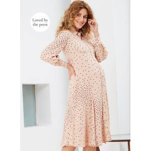 Isabella Oliver Maternity Juniper Maternity Shirt Dress-Light Peach Polka  - Size: 16-18