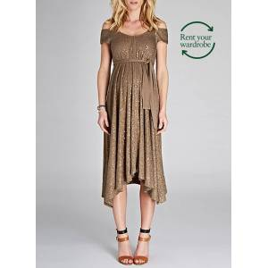 Isabella Oliver Maternity Marie Sequin Dress to Rent-Bronze Khaki  - Size: 8
