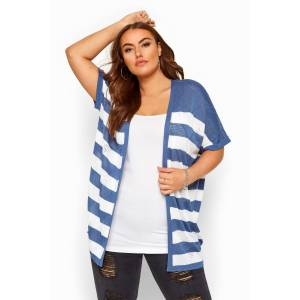 Plus Size Blue & White Stripe Pointelle Cocoon Cardigan 18