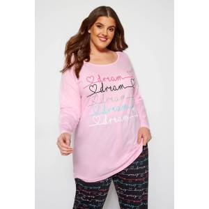 Plus Size Pink Glitter Dream Pyjama Top 26-28