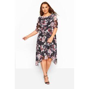 Plus Size Black & Pink Floral Cowl Neck Mesh Dress 16