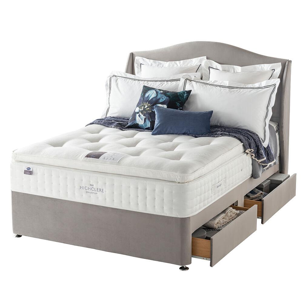 "Silentnight Arundel Pocket 2000 Divan Bed Set, Double (4'6""), Beech Leg, 2 Drawers, Silver"