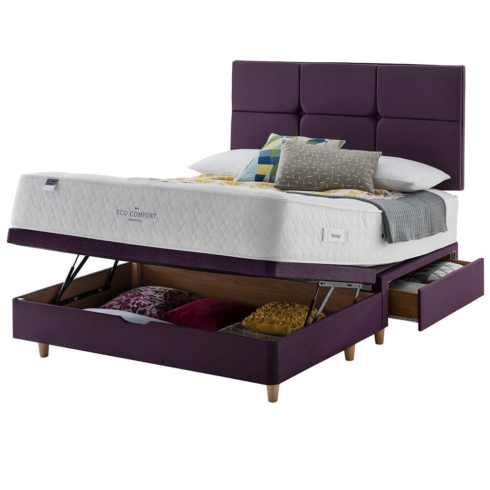 Silentnight Eco Comfort Pocket 1200 Divan, Ebony, King Size, Mini Drawer + Ottoman, Slimline base, Beech Leg