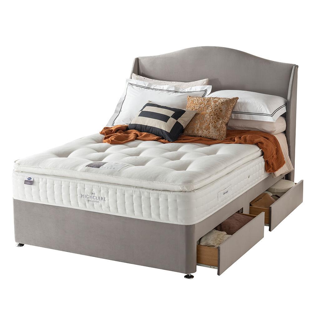 "Silentnight Wessex Pocket 1400 Divan Bed Set, Double (4'6""), Silver Glides, 2 Drawer + Ottoman, Slate Grey"