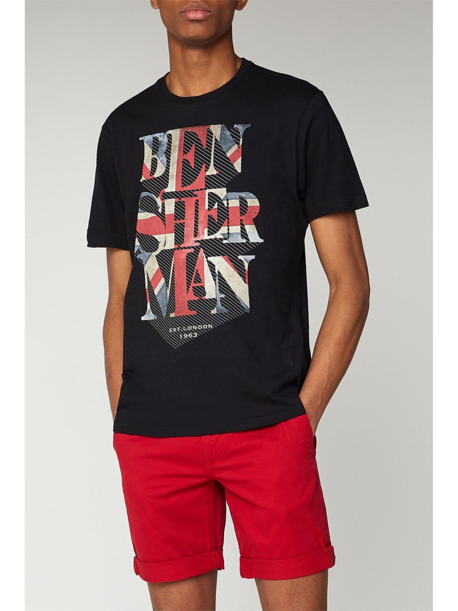 Ben Sherman Union Jack Graphic T-Shirt Sml Black