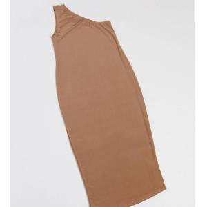 Fashionkilla Maternity going out one shoulder midi dress in camel-Beige  - 26548163973 - Size: 14