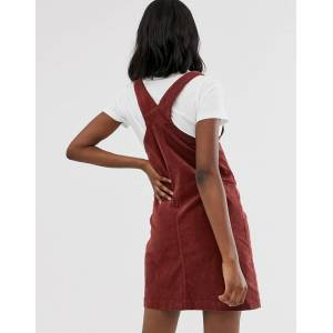 Mama.licious Mamalicious maternity cord pinny mini dress in rust-Red  - Red - Size: Large