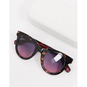 Marc Jacobs round sunglasses in tortoise shell with pink lens-Brown  - Brown - Size: No Size