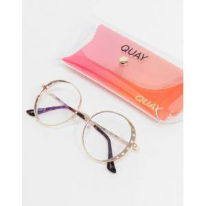 Quay Australia Quay Seeing Stars womens round blue light glasses in gold  - Gold - Size: No Size