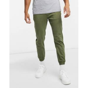 Bershka slim joggers in khaki-Green  - 26658629075 - Size: Small