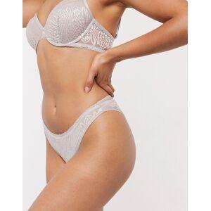 Calvin Klein brazilian brief with lace applique in sandstone-Beige  - Beige - Size: Large