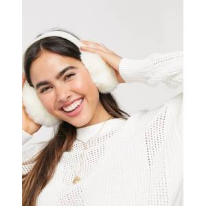 French Connection faux fur ear muffs in cream-White  - White - Size: No Size