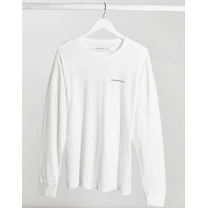 Abercrombie & Fitch cross back logo long sleeve top in white  - White - Size: Medium