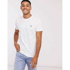 Abercrombie & Fitch icon logo crewneck t-shirt in white  - White - Size: Medium