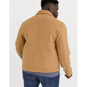ASOS DESIGN Plus wool mix harrington jacket in camel-Tan  - Tan - Size: 6XL Reg