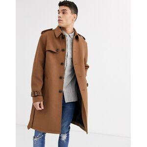 ASOS DESIGN single breasted wool mix trench coat in camel-Tan  - Tan - Size: Medium