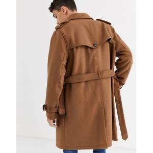 ASOS DESIGN single breasted wool mix trench coat in camel-Tan  - Tan - Size: Large