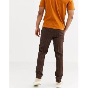 ASOS DESIGN skinny smart trousers in wool mix double stripe in brown  - Brown - Size: W30in L30in