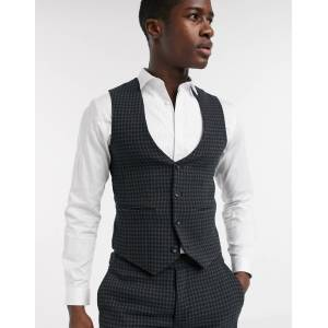 ASOS DESIGN skinny suit waistcoat in wool mix houndstooth in khaki-Green  - Green - Size: Chest 38in Regular