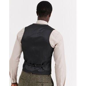ASOS DESIGN slim suit waistcoat in 100% wool Harris Tweed in brown herringbone  - Brown - Size: Chest 32in Regular