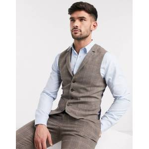 ASOS DESIGN wedding skinny suit waistcoat in brown wool blend windowpane check  - Brown - Size: Chest 40in Regular