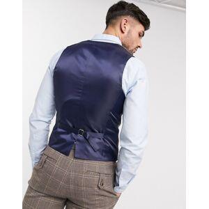 ASOS DESIGN wedding skinny suit waistcoat in brown wool blend windowpane check  - Brown - Size: Chest 44in Regular